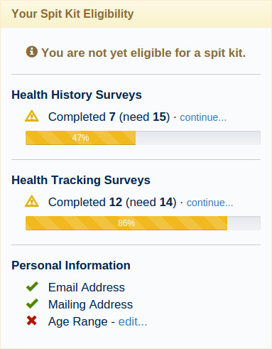 Your Spit Kit Eligibility - Not Yet Eligible